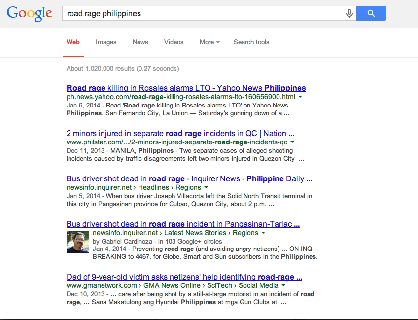 Google screenshot of Road Rage Philippines..