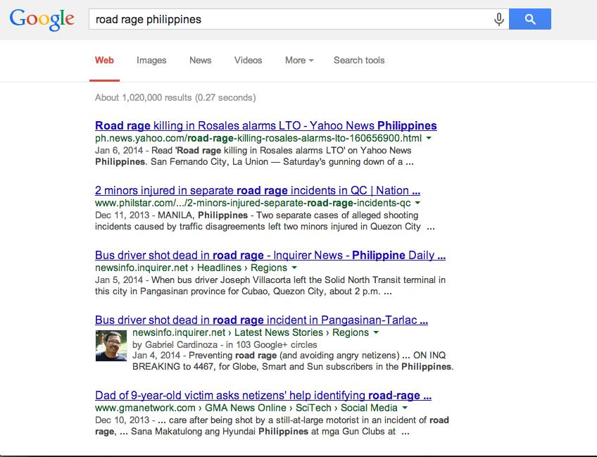 Google screenshot of Road Rage Philippines..